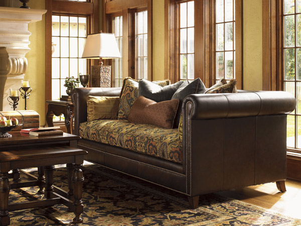 Leather And Tapestry Sofa Thesofa